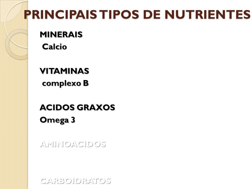 PRINCIPAIS TIPOS DE NUTRIENTES