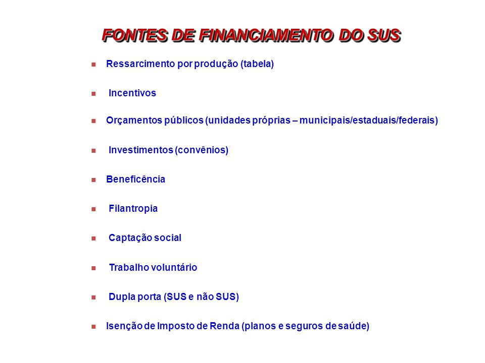 FONTES DE FINANCIAMENTO DO SUS