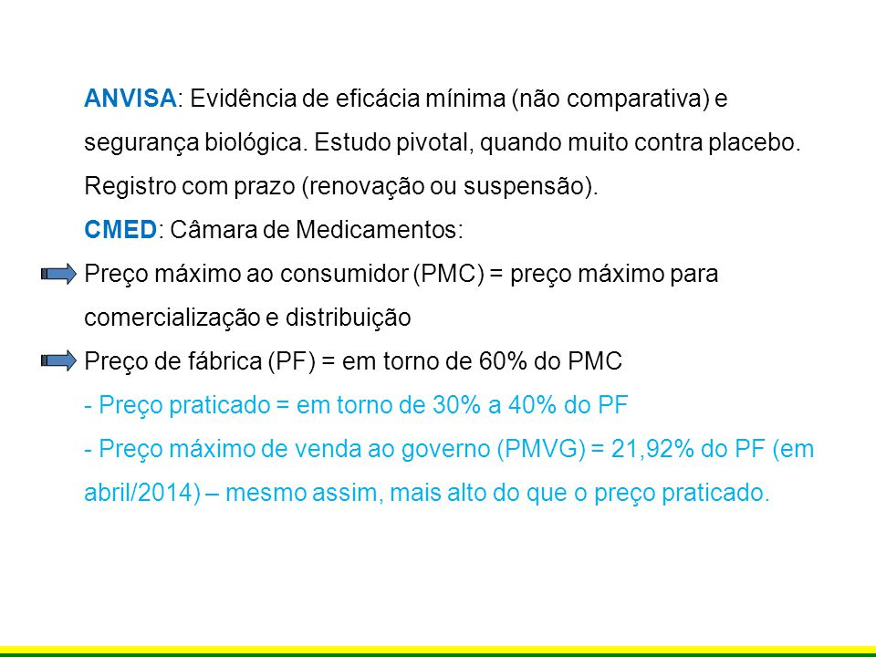 ANVISA: Evidência de eficácia mínima (não comparativa) e segurança biológica. Estudo pivotal, quando muito contra placebo. Registro com prazo (renovação ou suspensão).