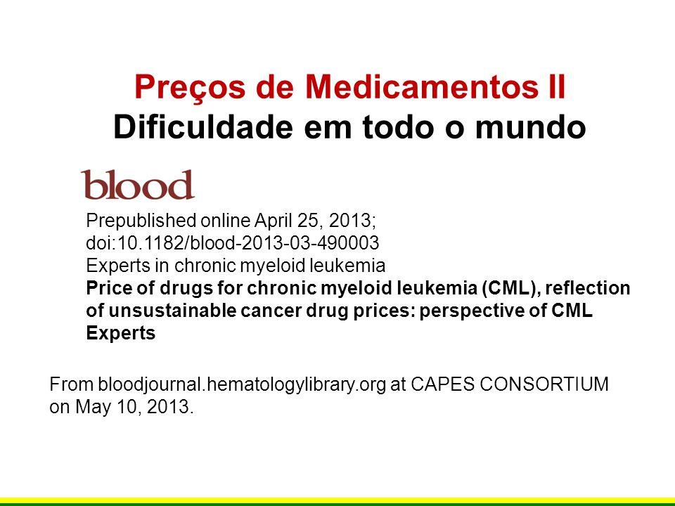 Preços de Medicamentos II Dificuldade em todo o mundo