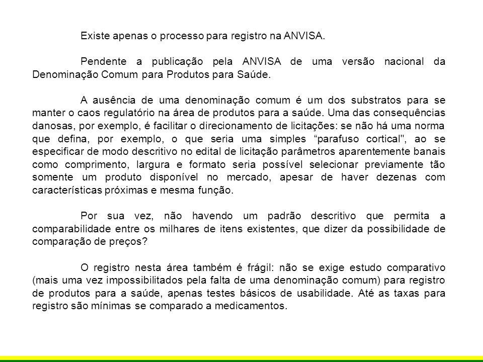 Existe apenas o processo para registro na ANVISA.