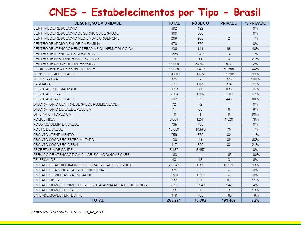 CNES - Estabelecimentos por Tipo - Brasil