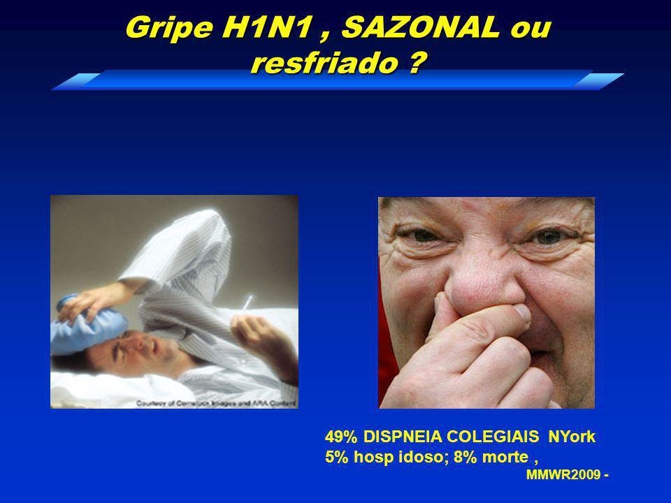 Gripe H1N1 , SAZONAL ou resfriado