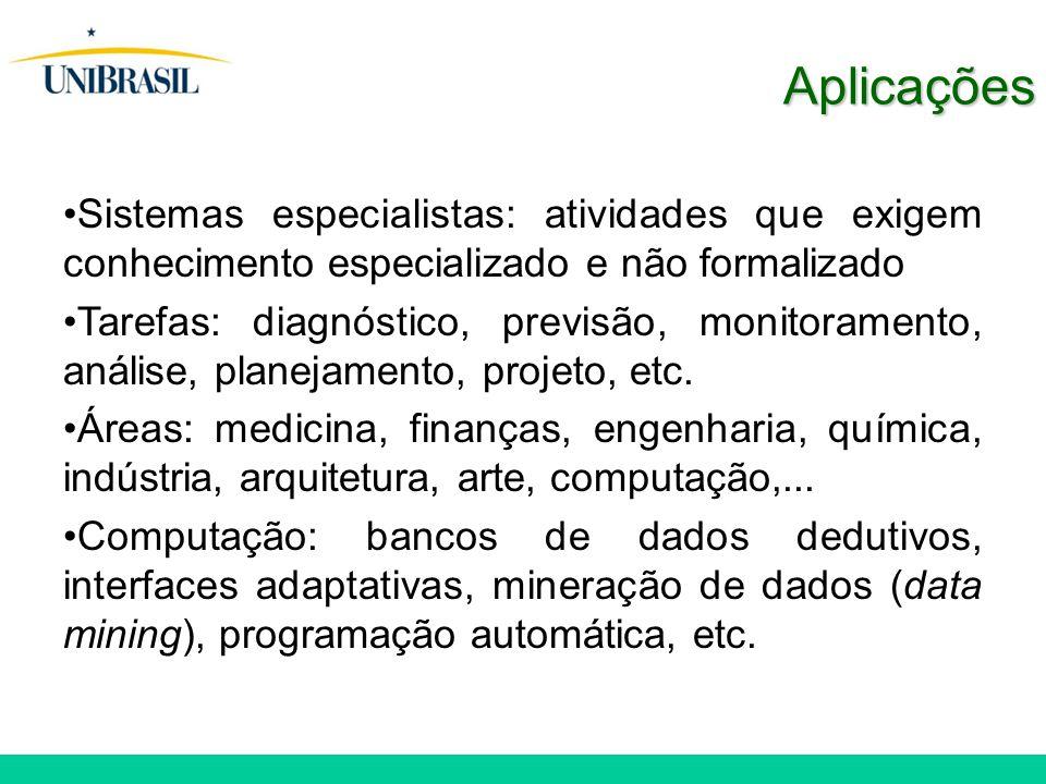 Aplicações Sistemas especialistas: atividades que exigem conhecimento especializado e não formalizado.