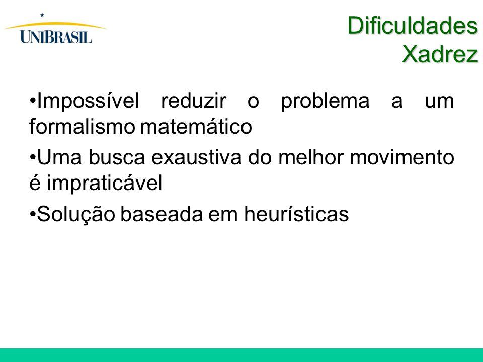 Dificuldades Xadrez Impossível reduzir o problema a um formalismo matemático. Uma busca exaustiva do melhor movimento é impraticável.