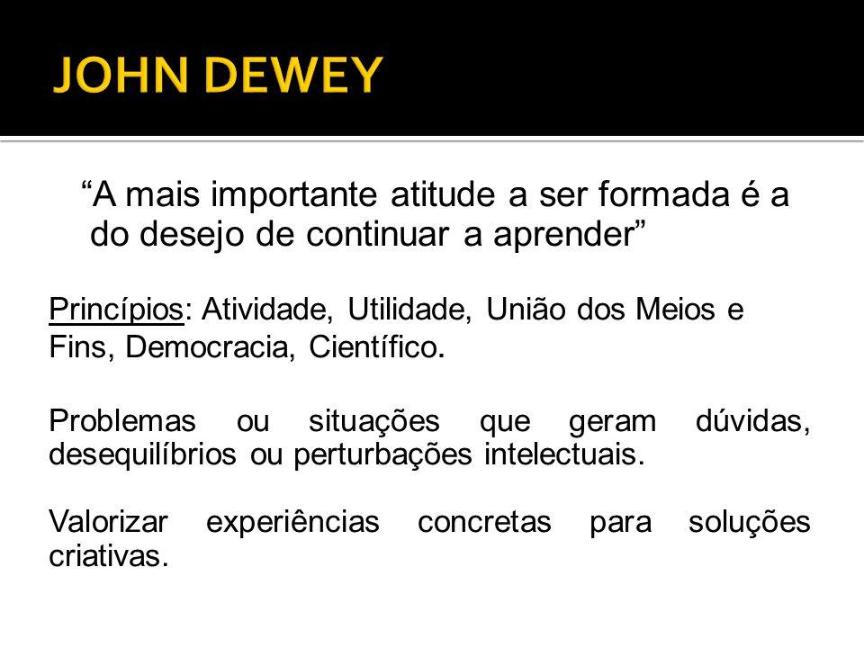 JOHN DEWEY A mais importante atitude a ser formada é a do desejo de continuar a aprender