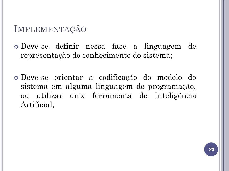 Implementação Deve-se definir nessa fase a linguagem de representação do conhecimento do sistema;