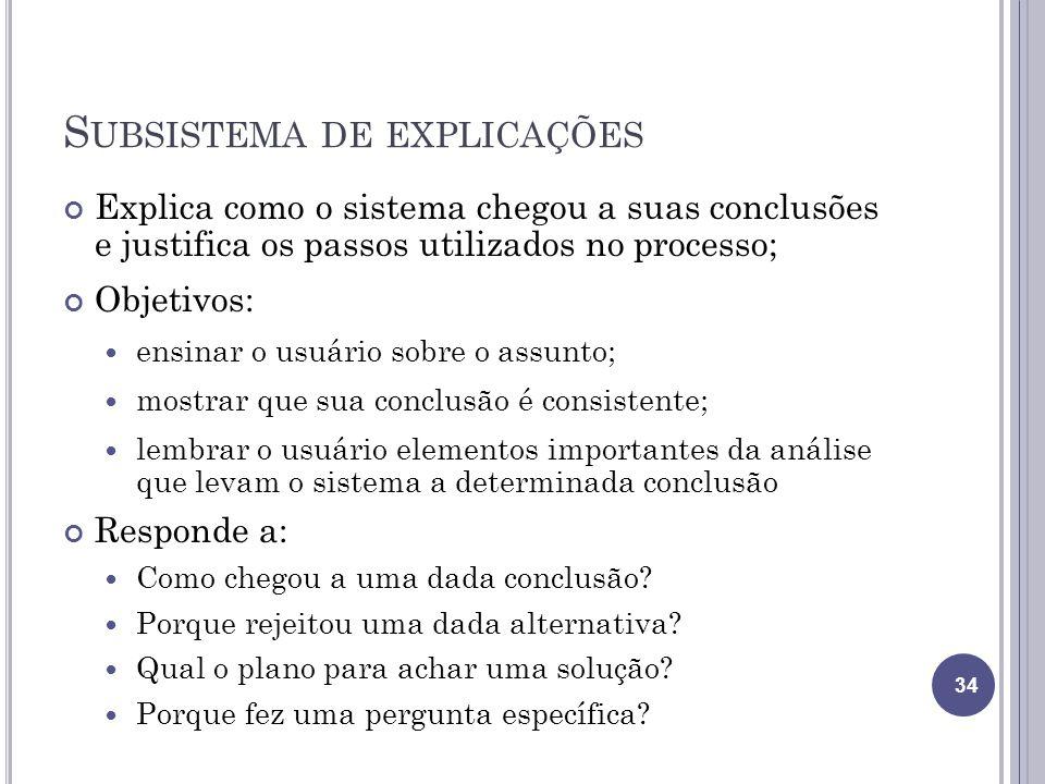Subsistema de explicações