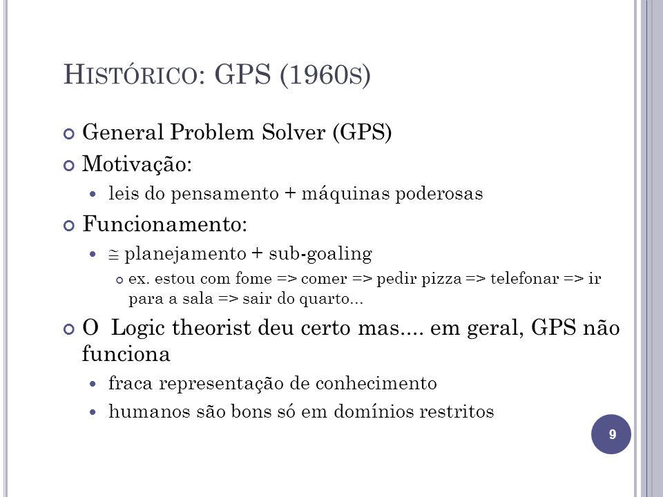Histórico: GPS (1960s) General Problem Solver (GPS) Motivação: