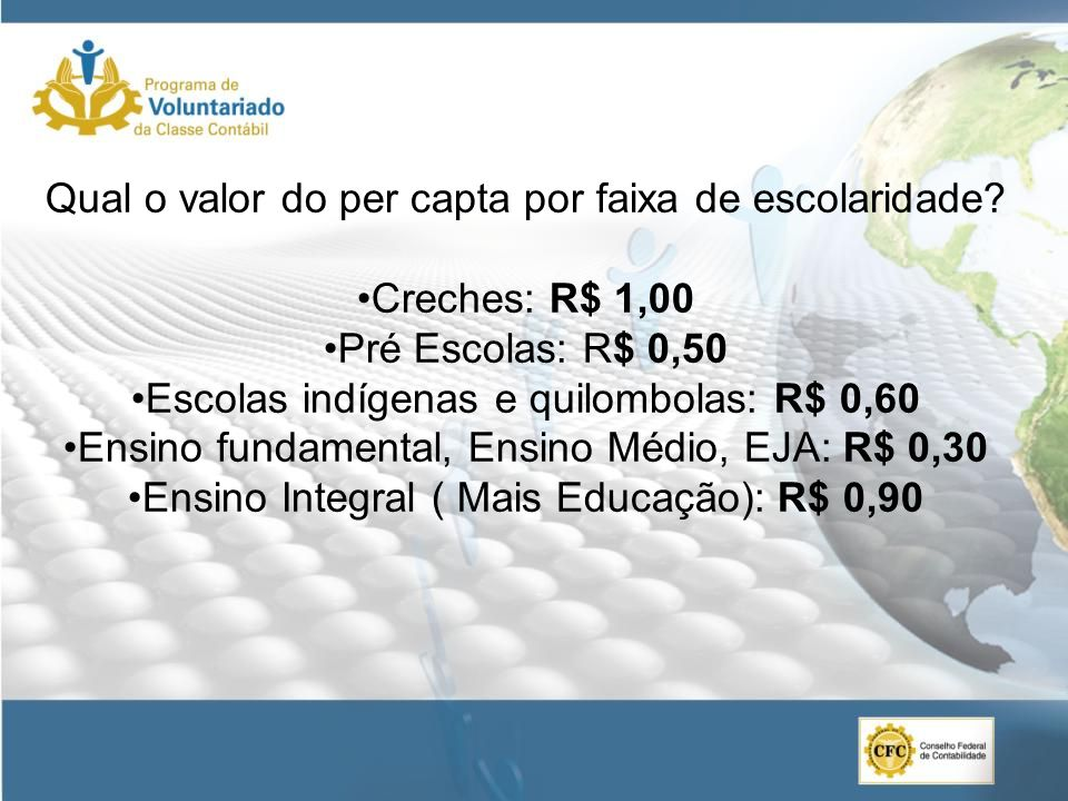 Qual o valor do per capta por faixa de escolaridade Creches: R$ 1,00