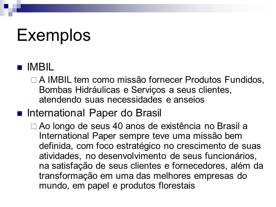 Exemplos IMBIL International Paper do Brasil