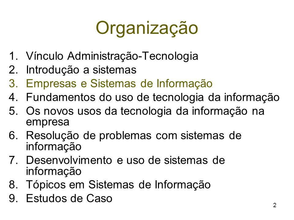 Organização Vínculo Administração-Tecnologia Introdução a sistemas