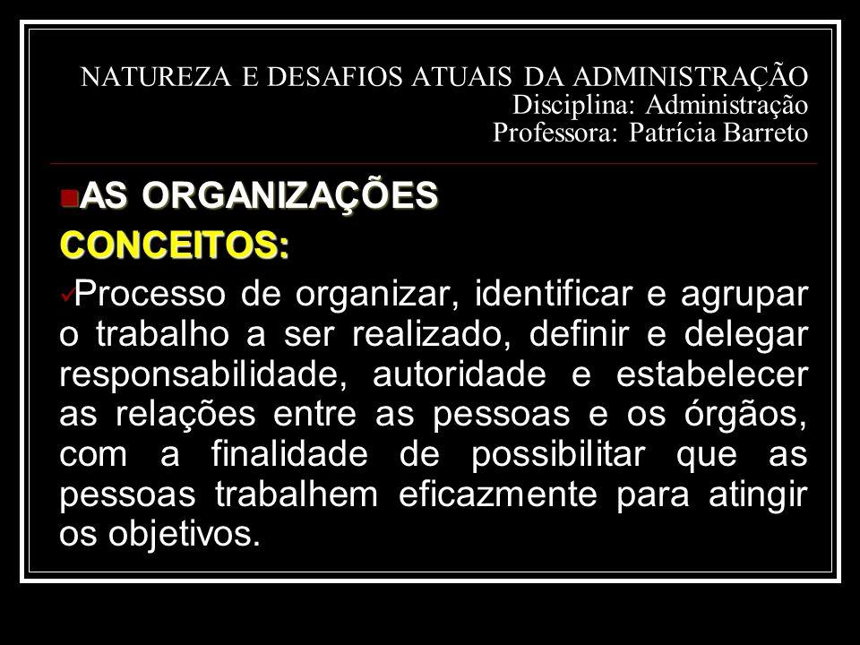 AS ORGANIZAÇÕES CONCEITOS: