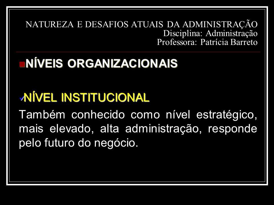 NÍVEIS ORGANIZACIONAIS NÍVEL INSTITUCIONAL
