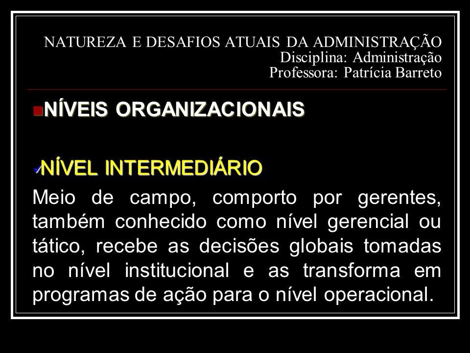 NÍVEIS ORGANIZACIONAIS NÍVEL INTERMEDIÁRIO