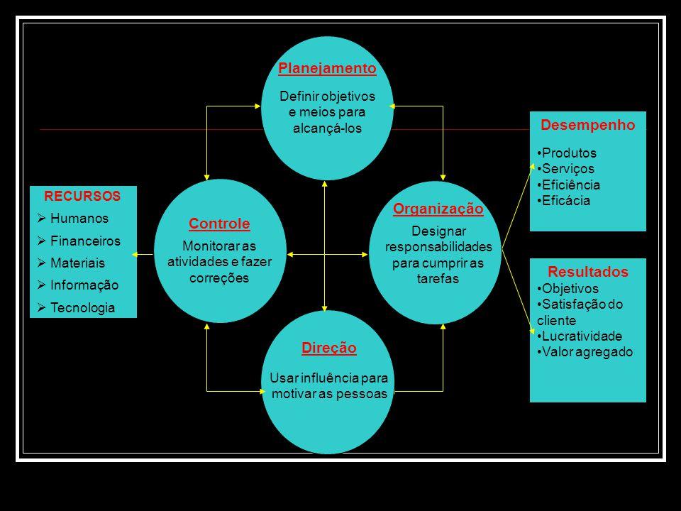 Desempenho Resultados Organização Direção Planejamento Controle