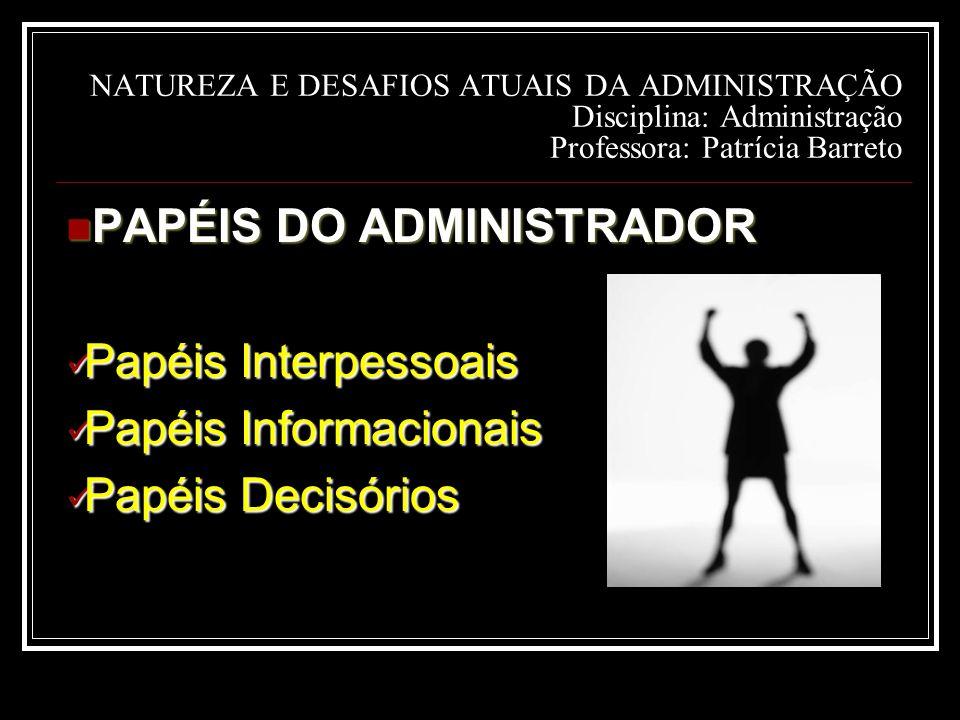 PAPÉIS DO ADMINISTRADOR Papéis Interpessoais Papéis Informacionais