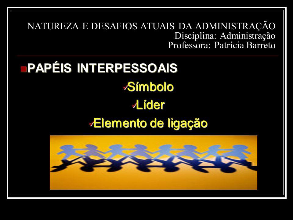 PAPÉIS INTERPESSOAIS Símbolo Líder Elemento de ligação