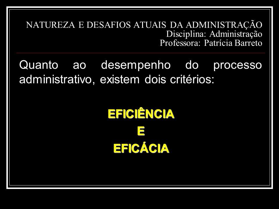 NATUREZA E DESAFIOS ATUAIS DA ADMINISTRAÇÃO Disciplina: Administração Professora: Patrícia Barreto
