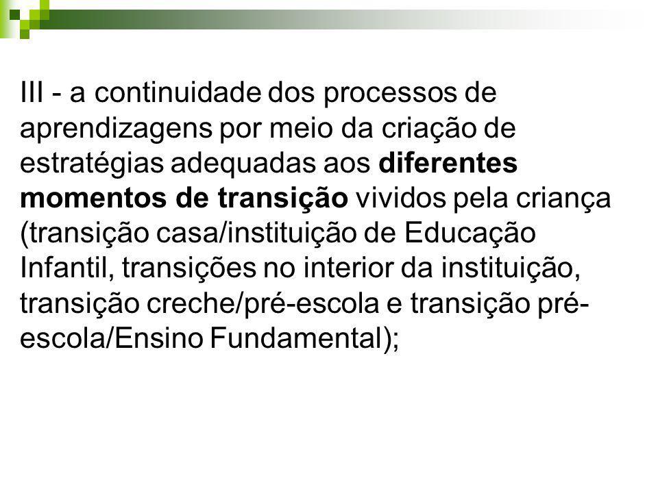 III - a continuidade dos processos de aprendizagens por meio da criação de estratégias adequadas aos diferentes momentos de transição vividos pela criança (transição casa/instituição de Educação Infantil, transições no interior da instituição, transição creche/pré-escola e transição pré-escola/Ensino Fundamental);
