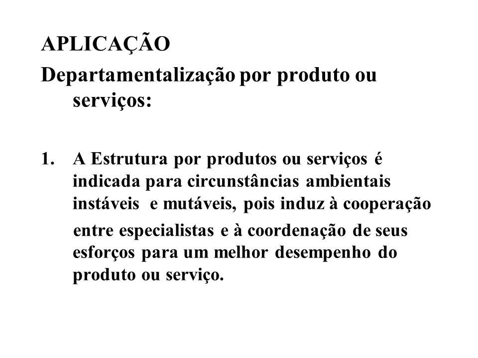 Departamentalização por produto ou serviços: