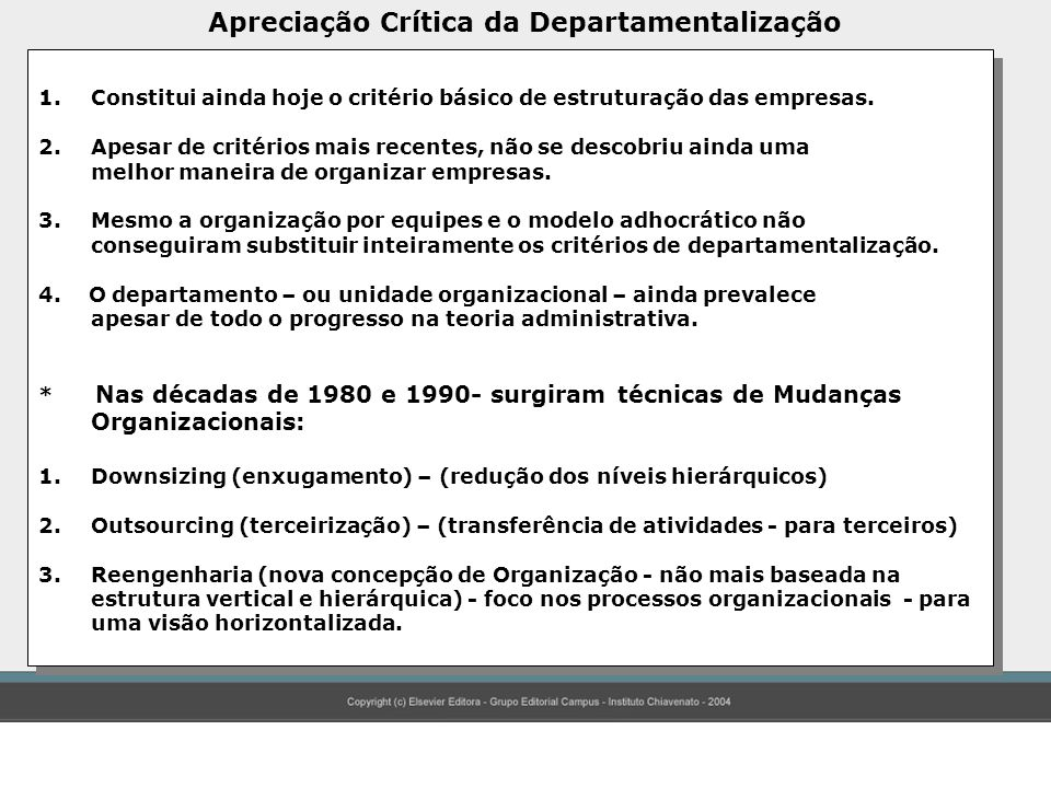 Apreciação Crítica da Departamentalização
