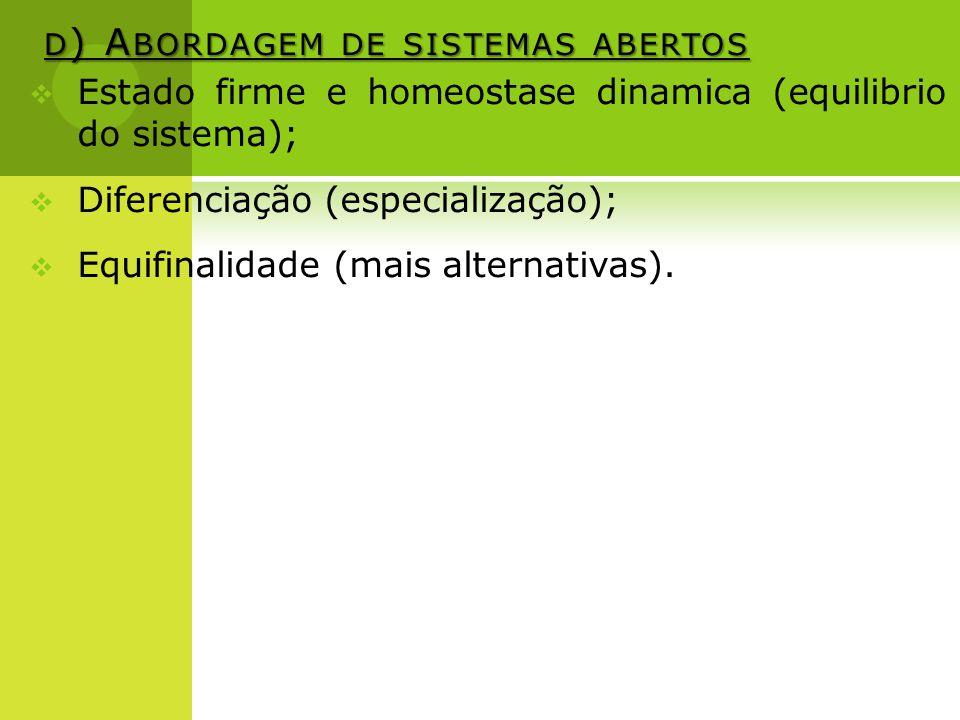 d) Abordagem de sistemas abertos