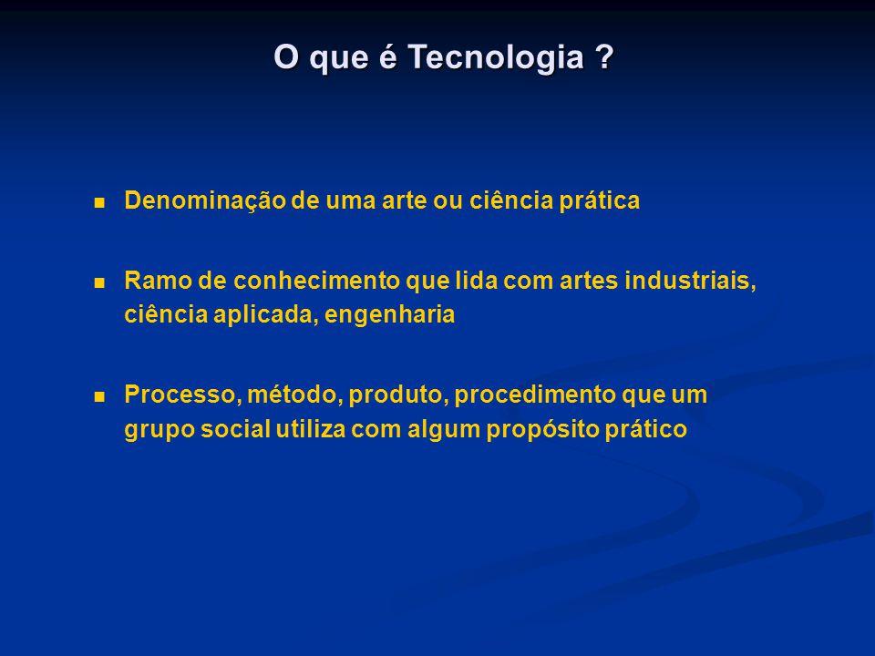 O que é Tecnologia Denominação de uma arte ou ciência prática