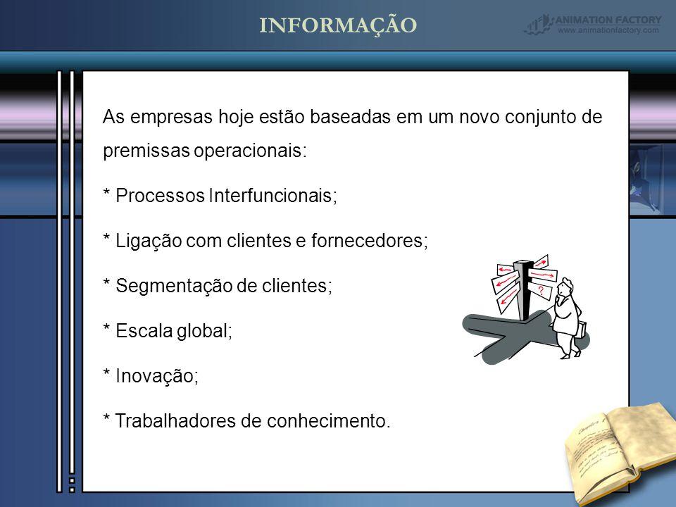 INFORMAÇÃO As empresas hoje estão baseadas em um novo conjunto de premissas operacionais: * Processos Interfuncionais;
