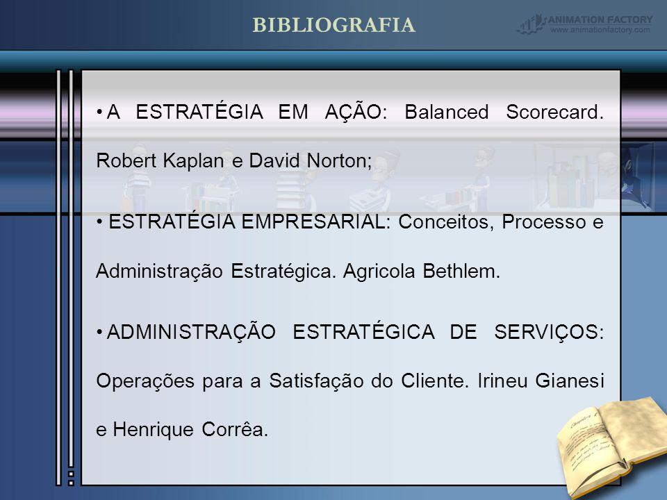 BIBLIOGRAFIA A ESTRATÉGIA EM AÇÃO: Balanced Scorecard. Robert Kaplan e David Norton;