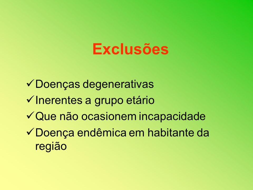 Exclusões Doenças degenerativas Inerentes a grupo etário