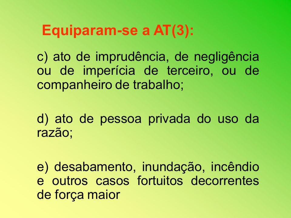 Equiparam-se a AT(3): c) ato de imprudência, de negligência ou de imperícia de terceiro, ou de companheiro de trabalho;