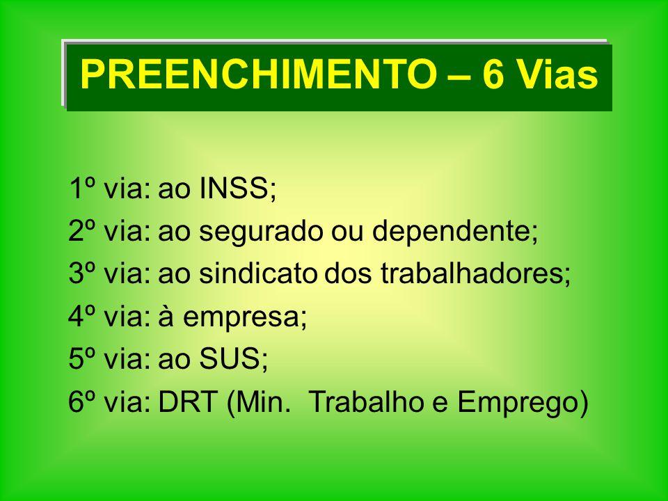PREENCHIMENTO – 6 Vias 1º via: ao INSS;