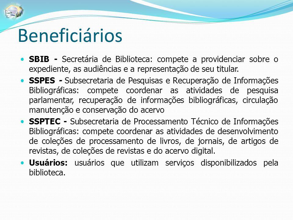 Beneficiários SBIB - Secretária de Biblioteca: compete a providenciar sobre o expediente, as audiências e a representação de seu titular.
