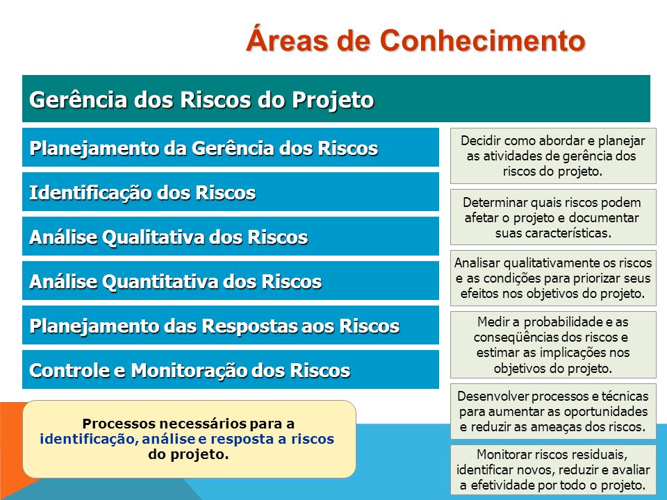 Áreas de Conhecimento Gerência dos Riscos do Projeto
