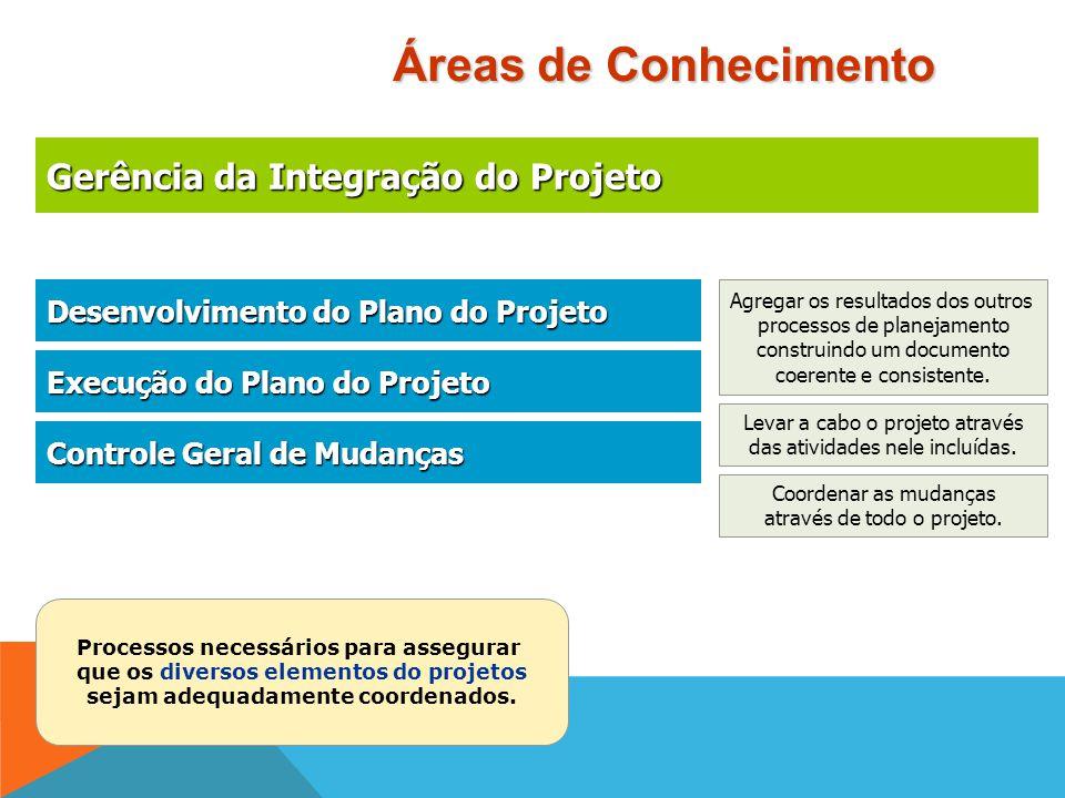 Áreas de Conhecimento Gerência da Integração do Projeto