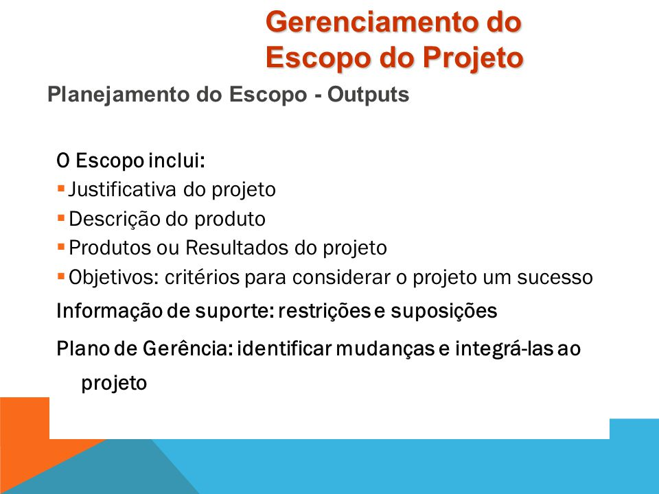 Planejamento do Escopo - Outputs