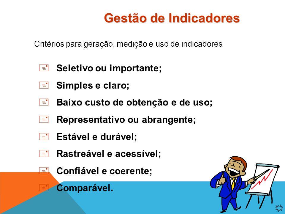 Critérios para geração, medição e uso de indicadores