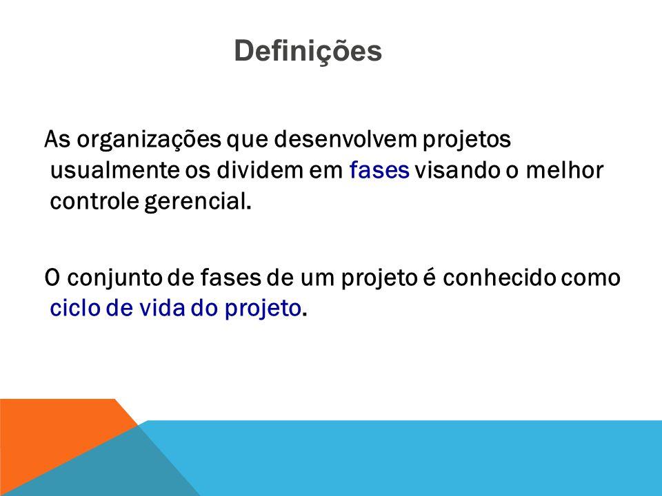 Definições As organizações que desenvolvem projetos usualmente os dividem em fases visando o melhor controle gerencial.