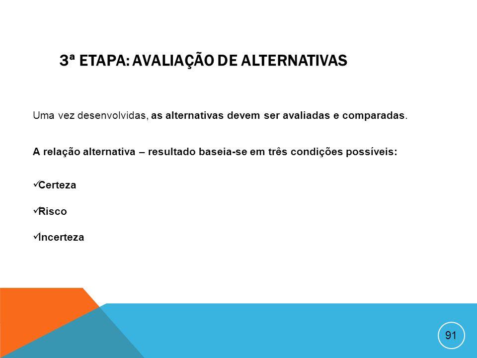 3ª ETAPA: AVALIAÇÃO DE ALTERNATIVAS