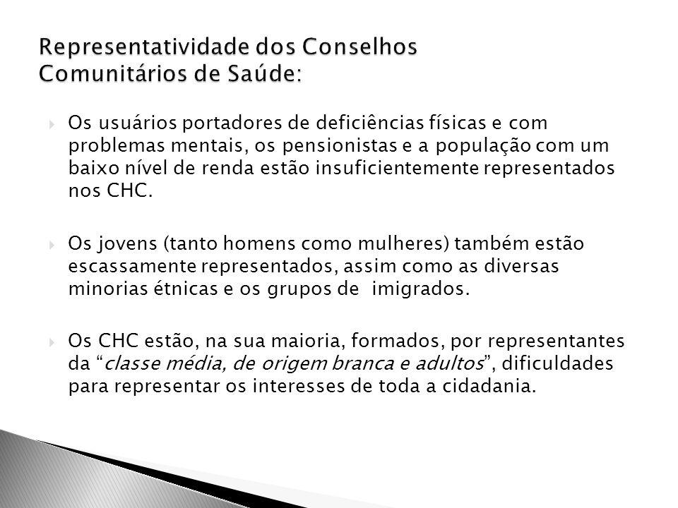 Representatividade dos Conselhos Comunitários de Saúde: