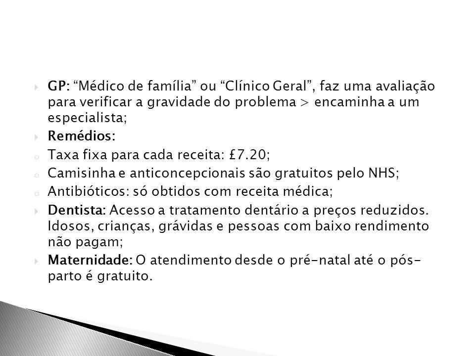 GP: Médico de família ou Clínico Geral , faz uma avaliação para verificar a gravidade do problema > encaminha a um especialista;
