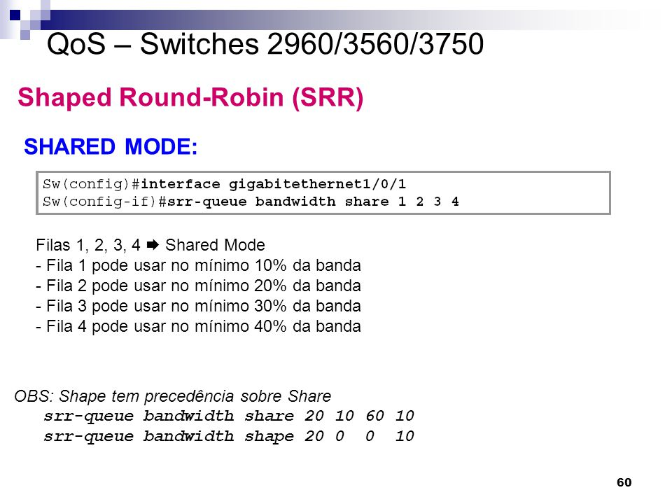 QoS – Switches 2960/3560/3750 Shaped Round-Robin (SRR) SHARED MODE: