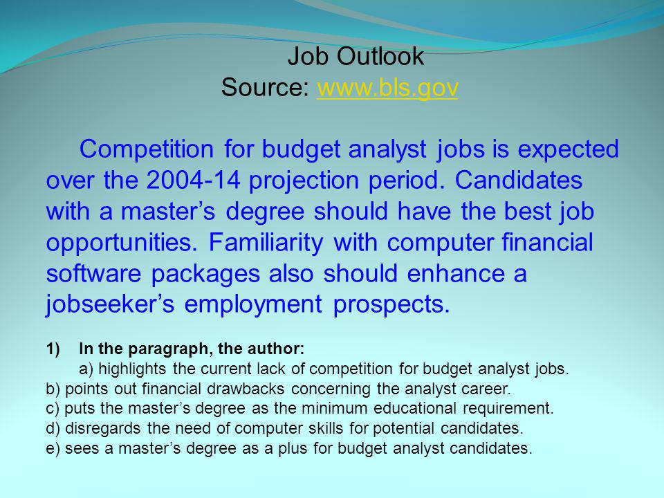 Job Outlook Source: www.bls.gov