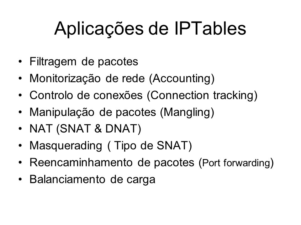 Aplicações de IPTables