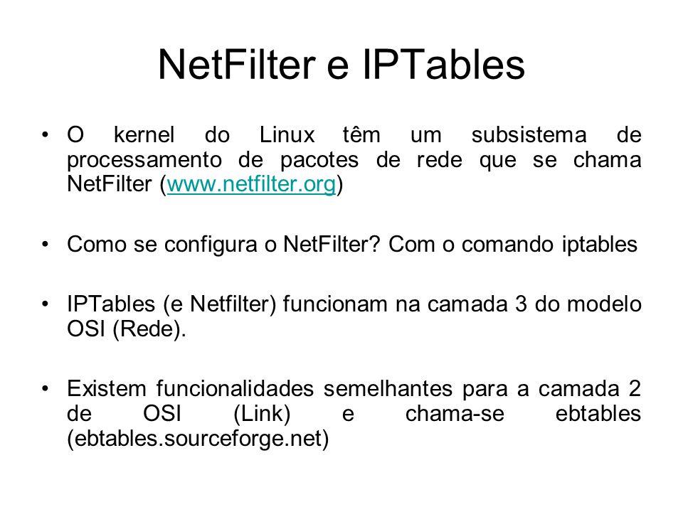 NetFilter e IPTables O kernel do Linux têm um subsistema de processamento de pacotes de rede que se chama NetFilter (www.netfilter.org)