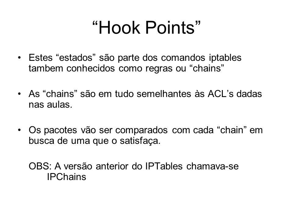 Hook Points Estes estados são parte dos comandos iptables tambem conhecidos como regras ou chains
