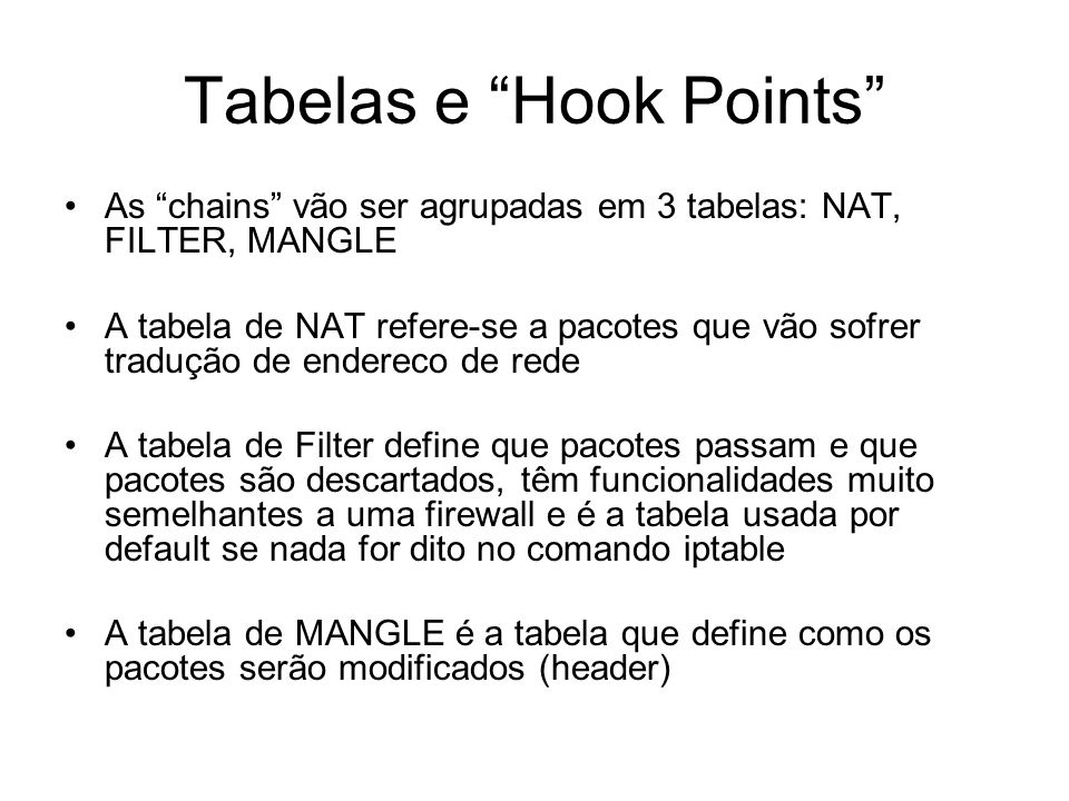 Tabelas e Hook Points