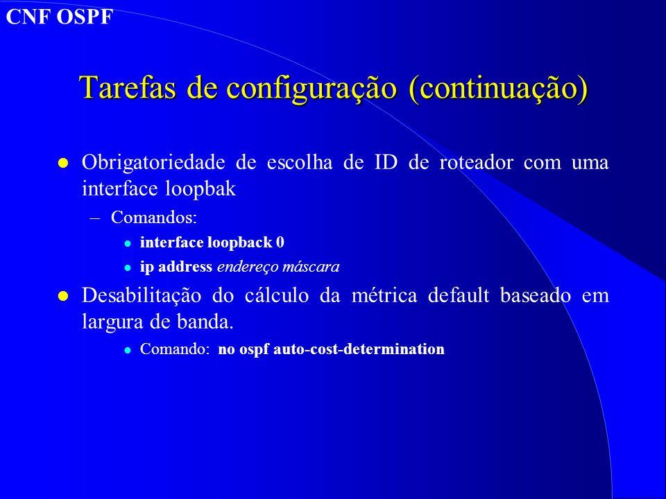 Tarefas de configuração (continuação)