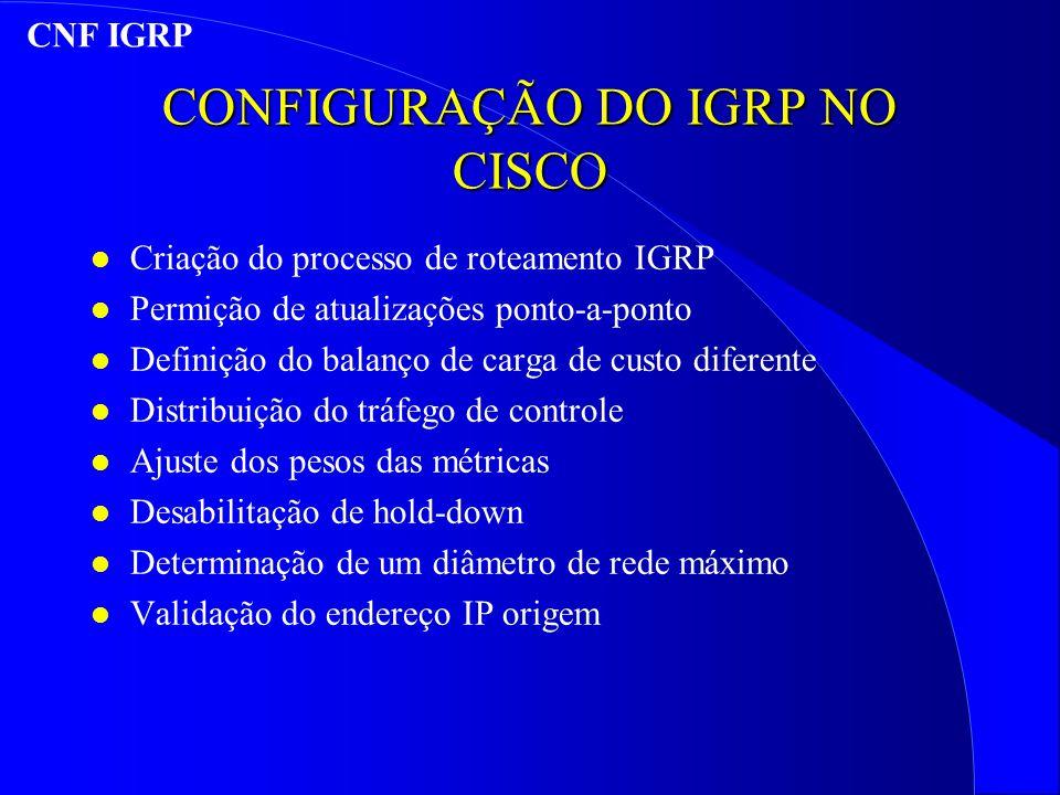 CONFIGURAÇÃO DO IGRP NO CISCO